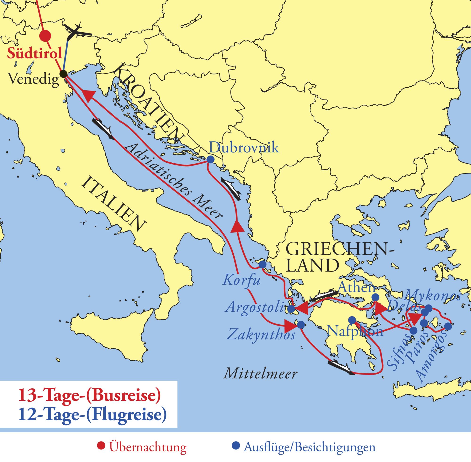 Mittelmeer Karte Inseln.Hsk Adria Und Griechische Inseln