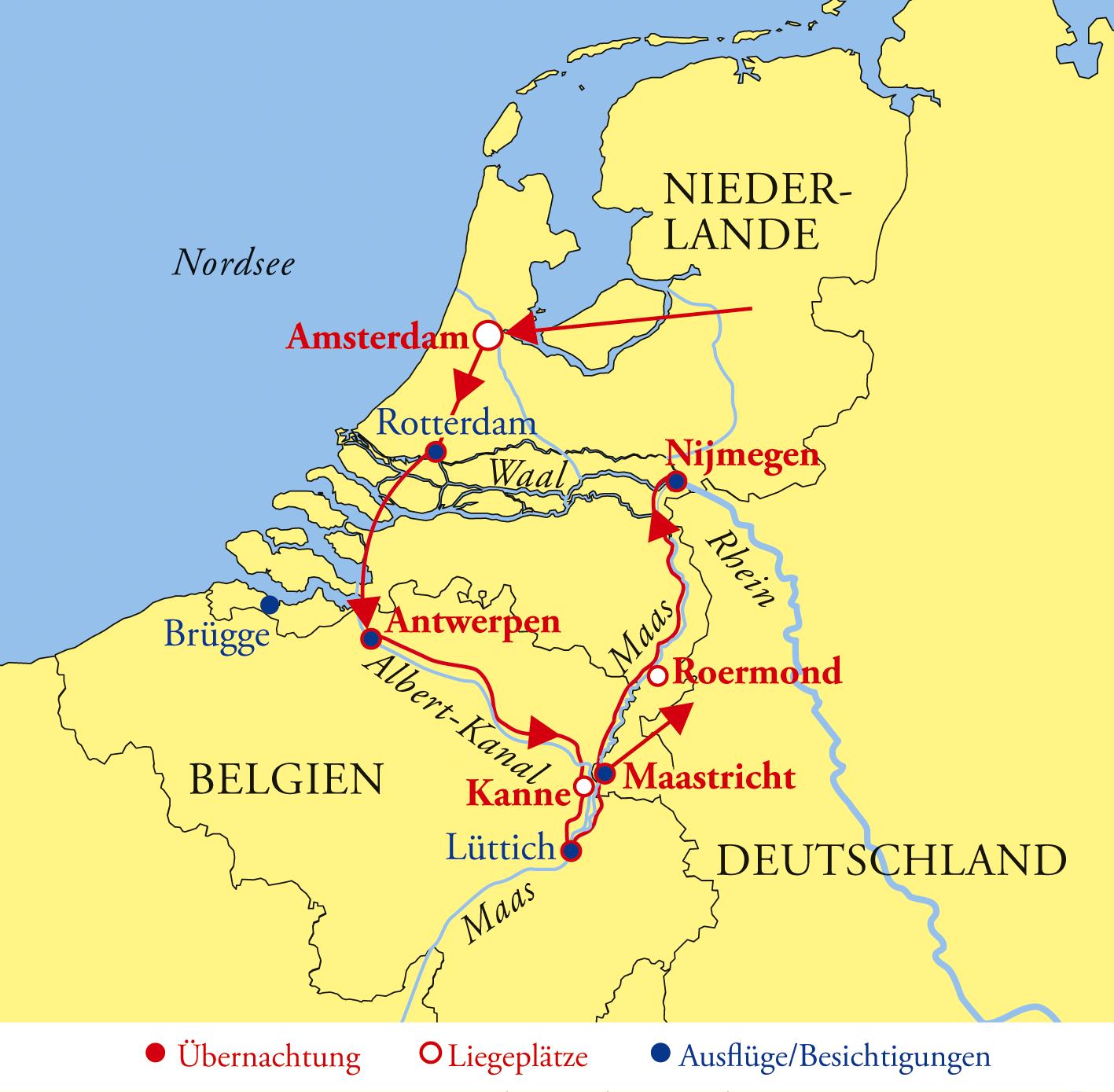 Karte Von Holland Und Belgien.Holland Belgien Kreuzfahrt