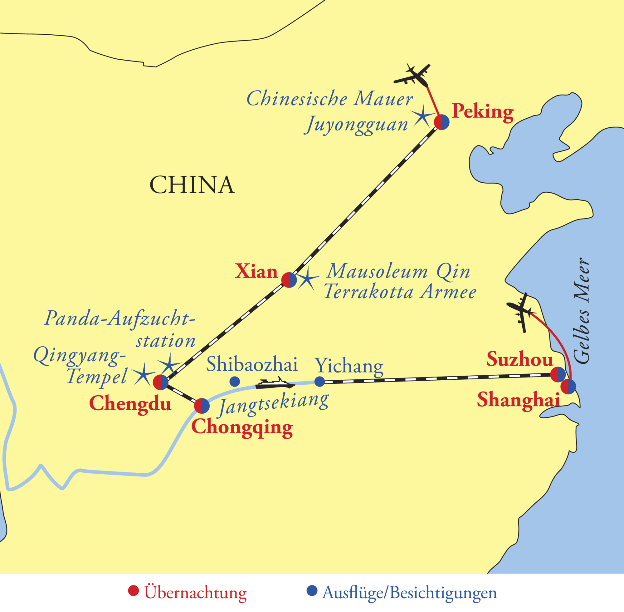 Chinesische Mauer Karte.China Mit Yangtsekreuzfahrt 15 Tage
